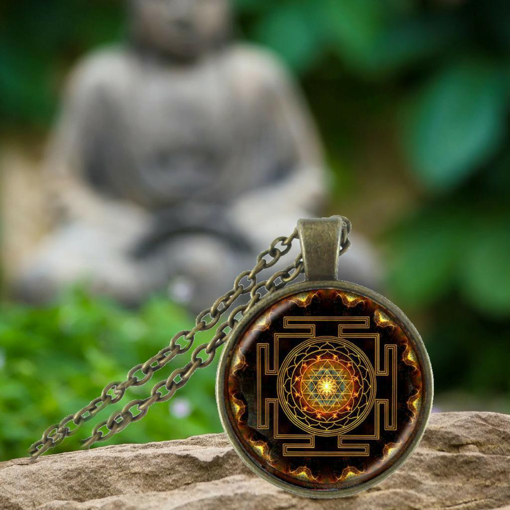 Sacred sri yantra necklace pendant blazemall sacred sri yantra necklace aloadofball Image collections