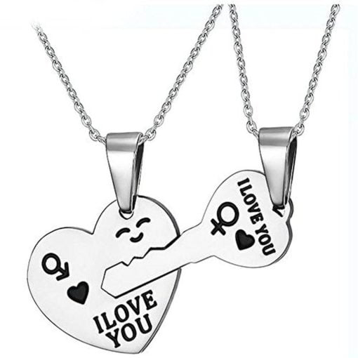 Couples Key to My Heart Stainless Steel Pendant Love Necklaces