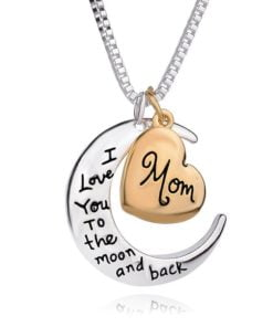 Mom Moon & Heart Ralationship Pendant Necklace