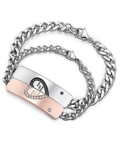 Romantic Half Heart Puzzle Couple ID Bracelets