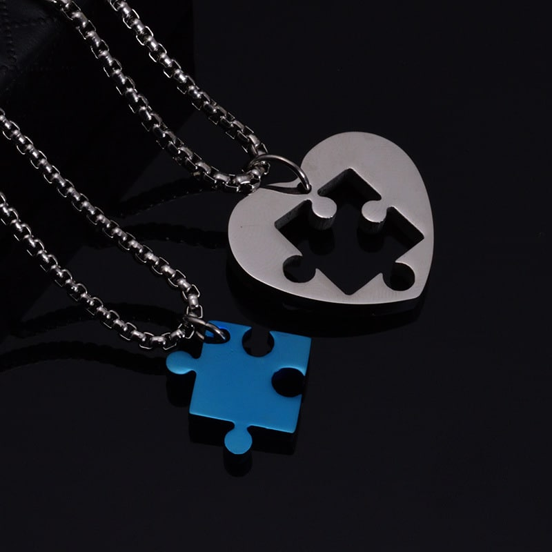Jigsaw puzzle heart pendant couple necklaces blazemall jigsaw puzzle heart pendant couple necklaces aloadofball Images