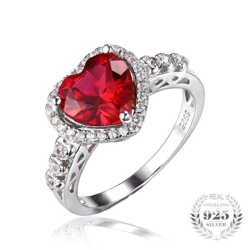 July Birthstone Ruby Heart Ring - BlazeMall