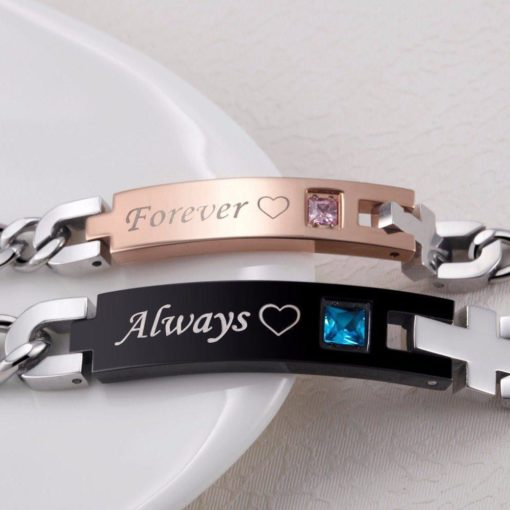 'Always' and 'Forever' Couple Chain Bracelets