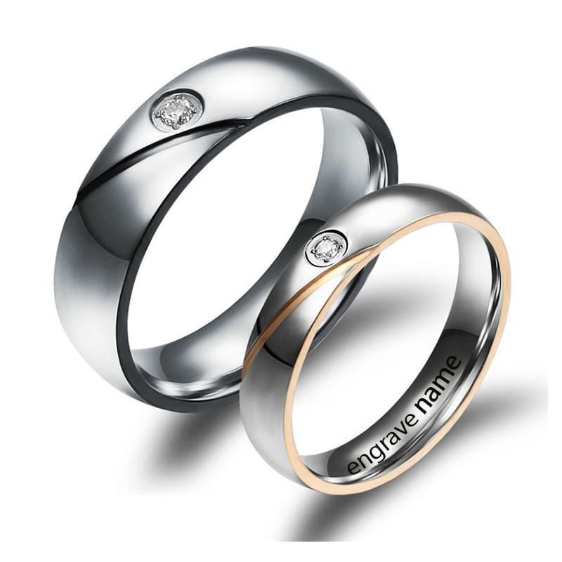Engrave Name Wedding Couple Rings - BlazeMall